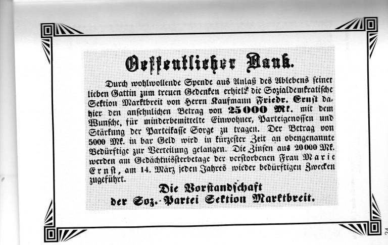 Spende eines SPD Mitglieds an Notleidende während der Inflationszeit